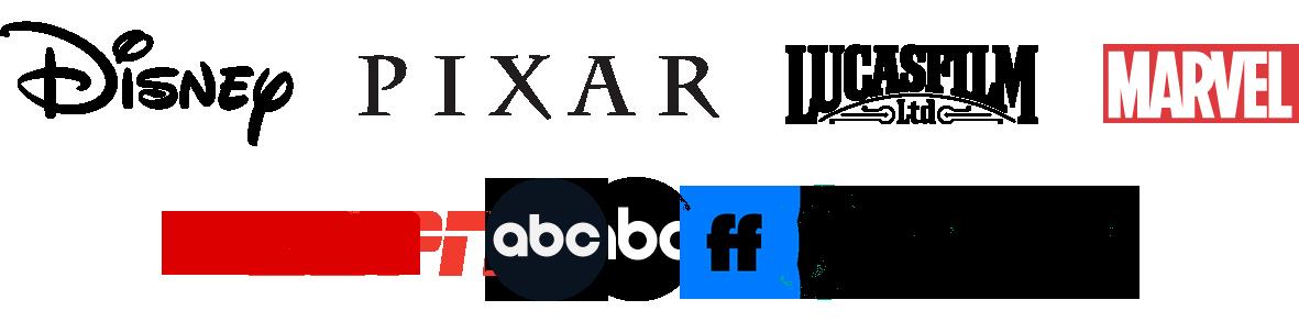Company logos from Disney, Pixar, Lucas Film, Marvel, E S P N, A B C, and Freeform